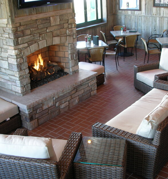 Stunning patio fireplace in Las Vegas, Nevada by Earthcore.