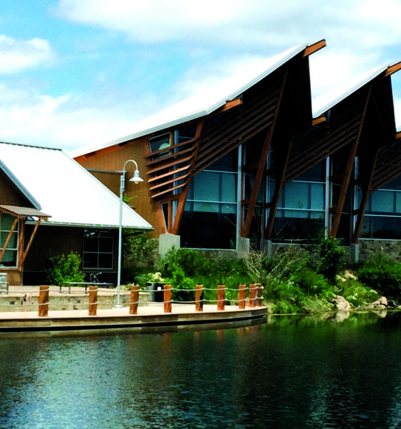 South Dakota's Game & Fish Campus - West showcases a custom outdoor fireplace by Earthcore.
