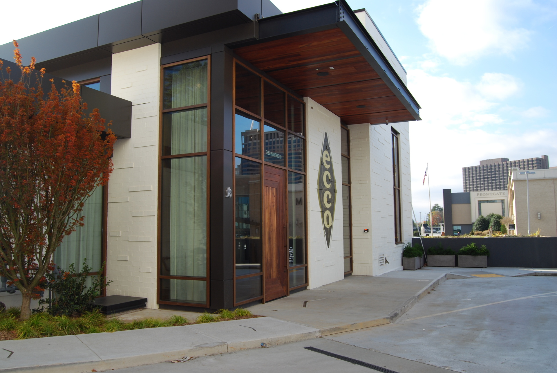 Featured here at the Ecco Restaurant are Lamboo® commercial doors & windows to bring uniformity and warmth to its modern environment.