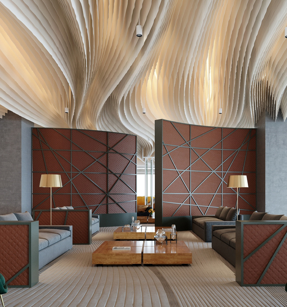 The Shibuya Crossing Wall, by Eclectic Contract, can be fitted with filler elements to create a more private environment for your lounge spaces.