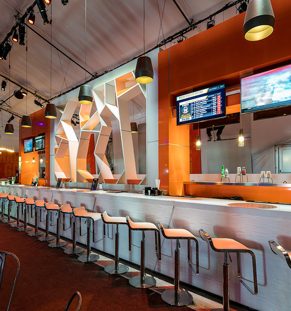 Modern bar area featuring the Shibuya Crossings wall by Eclectic Contract at MSOP in Las Vegas, Nevada.