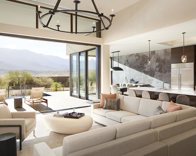 Spacious conversation area looking over the mountain view at the Miraval Arizona Resort & Spa featuring custom furniture by Eclectic Contract.