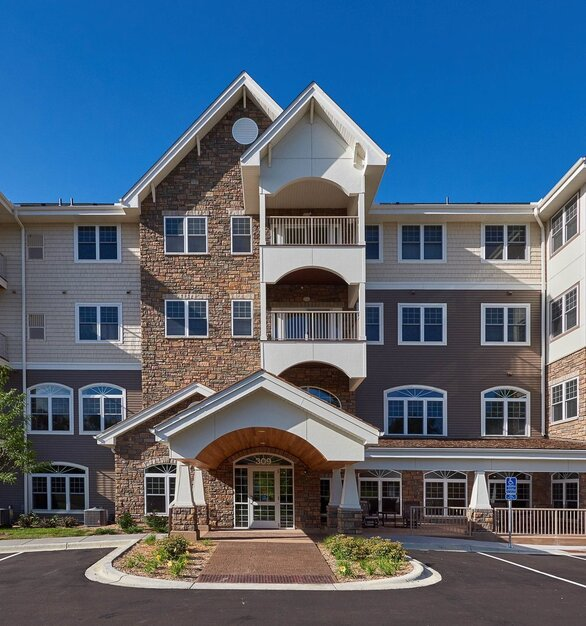 A new senior living apartment building was built in a picturesque area incorporating EDCO's D4 Traditional Lap Siding in Timber.