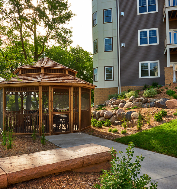 Beautiful community gazebo in the courtyard area of the Applewood Pointe Cooperative Community in Champlin, Minnesota.
