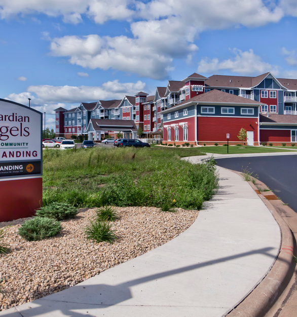 Bold custom colored ENTEX® siding by EDCO Products is featured at the new 4-story, 168,000sf independent and assisted living facility, Guardian Angels in Ostego, Minnesota.