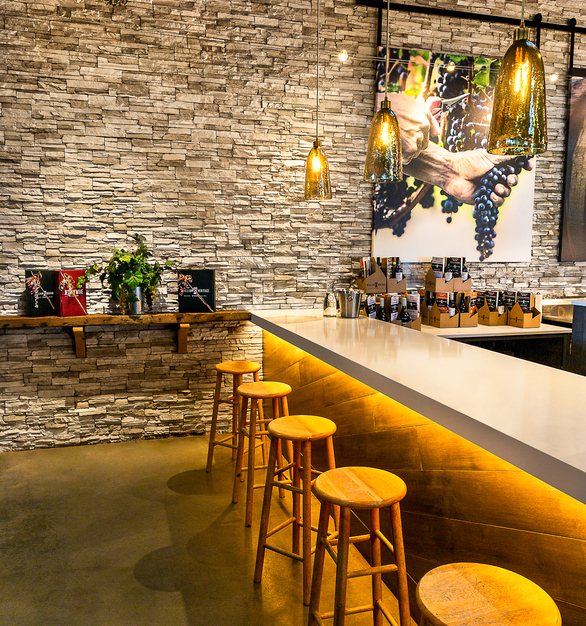 The thin stone design by Eldorado stone is their stacked stone in the color of daybreak, seen here at the Heritage Winery in New Jersey.
