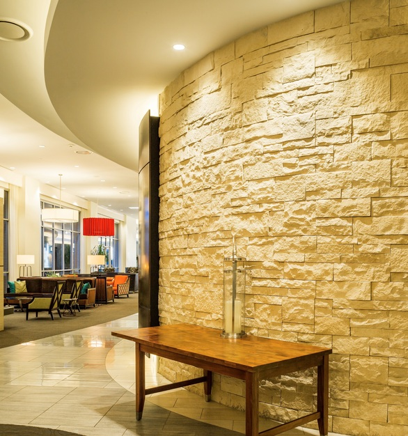 Eldorado Stone's Cut Coarse Stone in Oyster is the perfect addition to the lobby of the Hilton Garden Inn in the Nashville, Tennessee area.