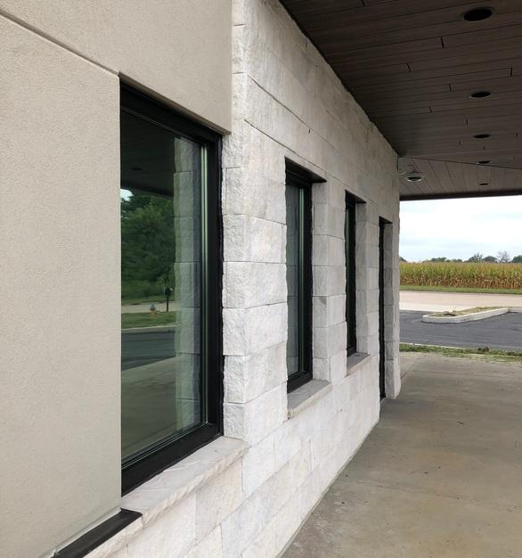 Eldorado Stone used their Ridgetop18 stone in Whisper White for the Thrive Dispensary in Illinois.