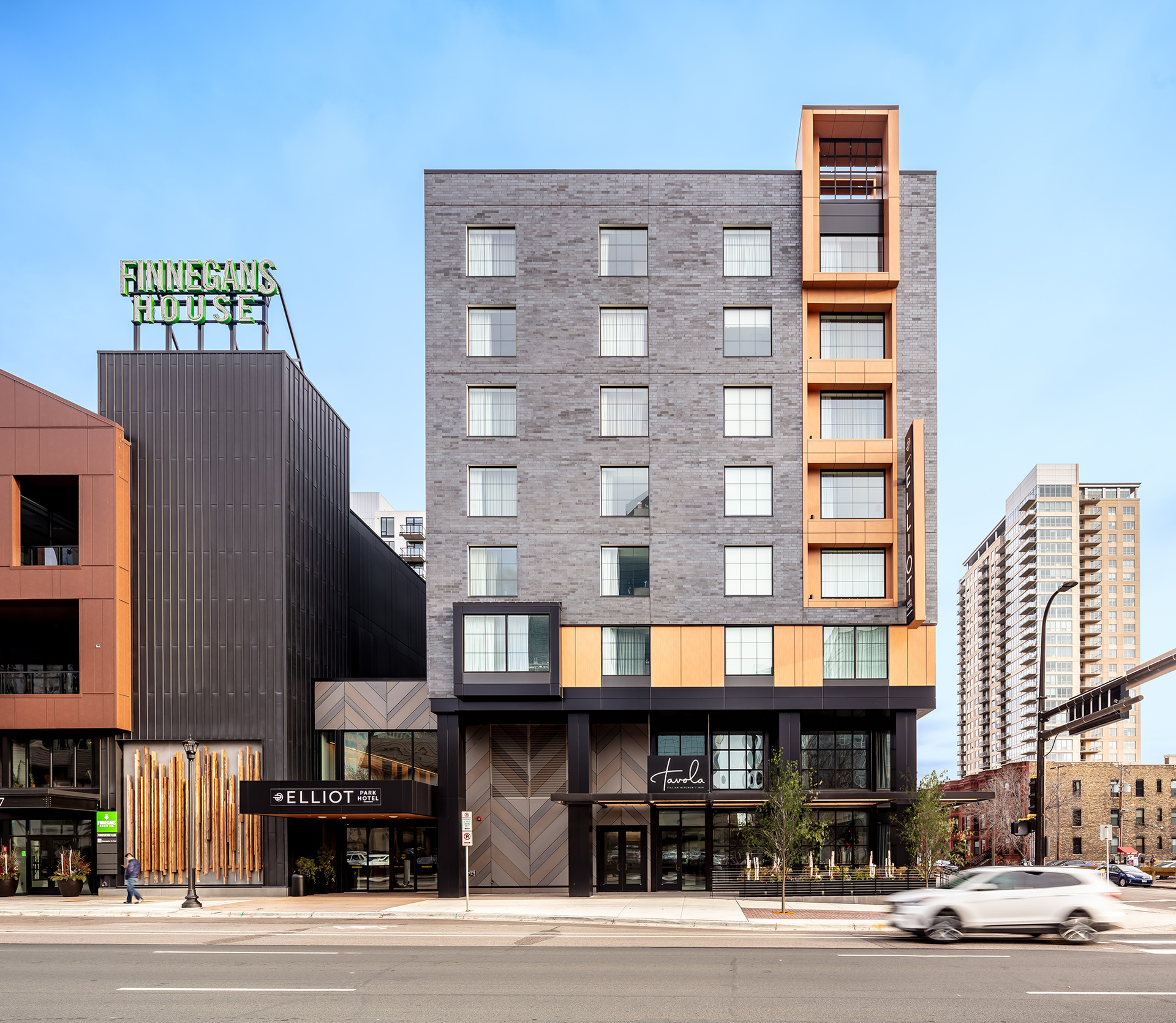 Directly adjacent to HQ Apartments and Finnegan's Brewery on the Kraus-Anderson Block is the Elliot Park Hotel in Minneapolis, Minnesota.