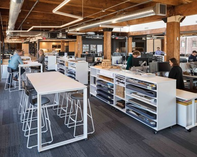 Multifunction work designed for collaboration. Open concept workspaces encourage productivity and an easy way to communicate with co-workers.