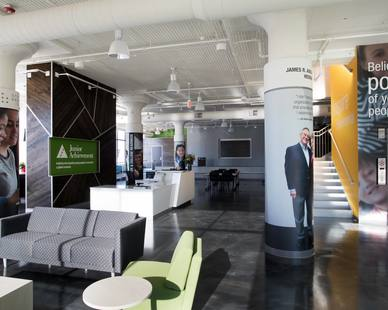 The vibrant interior of the Junior Achievement located in St. Paul, MN, by Emanuelson-Podas.