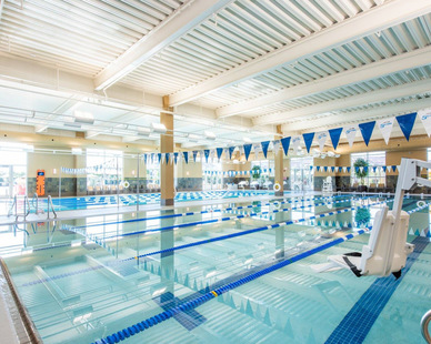 The indoor pool at Life Time Fitness.