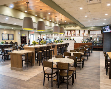 At this Life Time Fitness location, it has a cafe and snack area for the members and employees to enjoy.