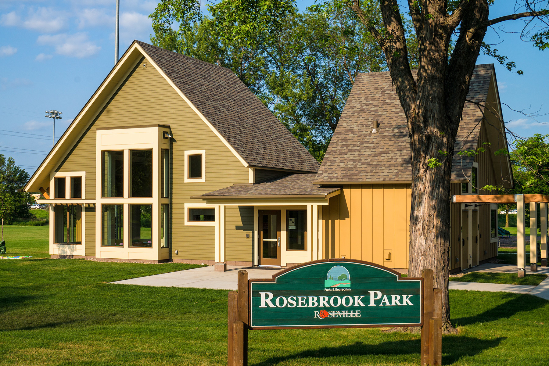 Rosebrook Park in Roseville, MN is a new building that is available for rental for community gatherings and private functions.  It's also a warming house during cold MN winters.  Electrical, Mechanical Engineering and Lighting design, by Emanuelson-Podas.