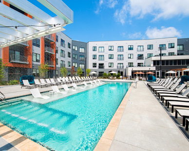 Enjoy this Heated Saltwater Lounge Pool at this luxury apartment located in Kansas City.
