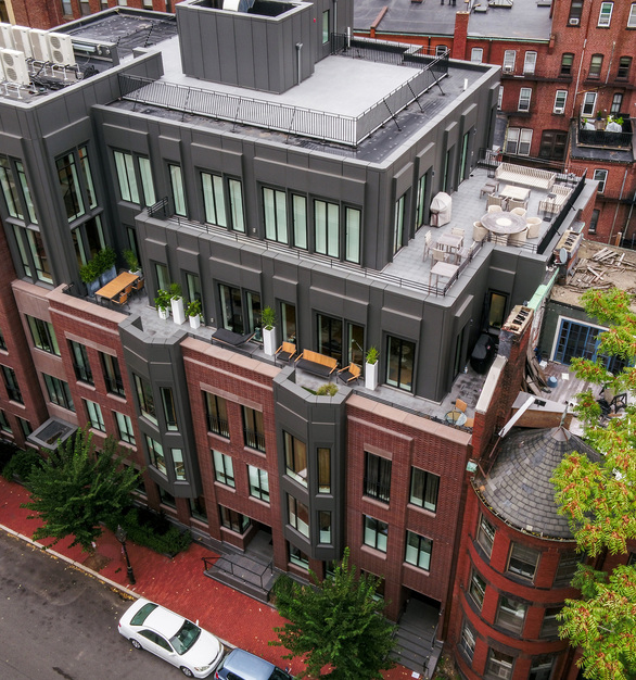 Endicott Clay Products Four 51 Marlborough Apartment Building Exterior Face Brick Balcony and Rooftop Design