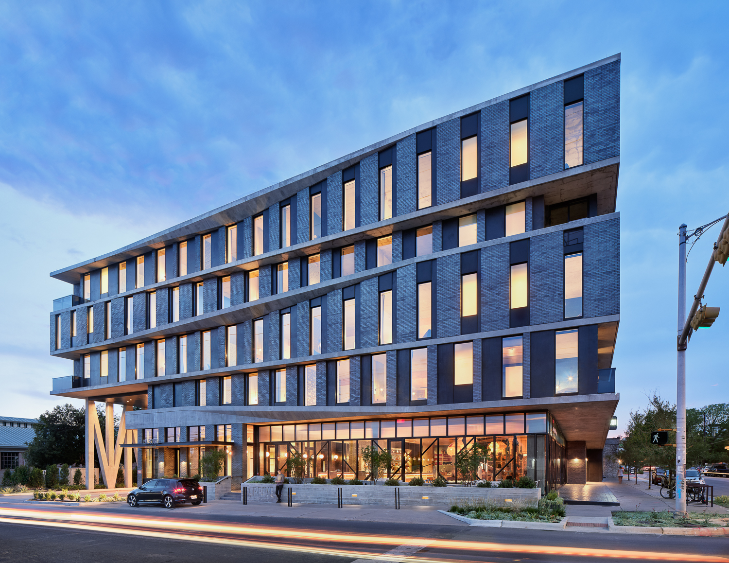 Endicott Clay Products Hospitality Design Arrive Hotel Exterior Face Brick Facade Duck Lighting