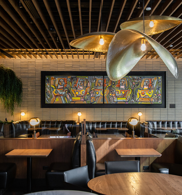Endicott Clay Products Joey DTLA Restaurant Interior Design Exposed Brick Booth Seating
