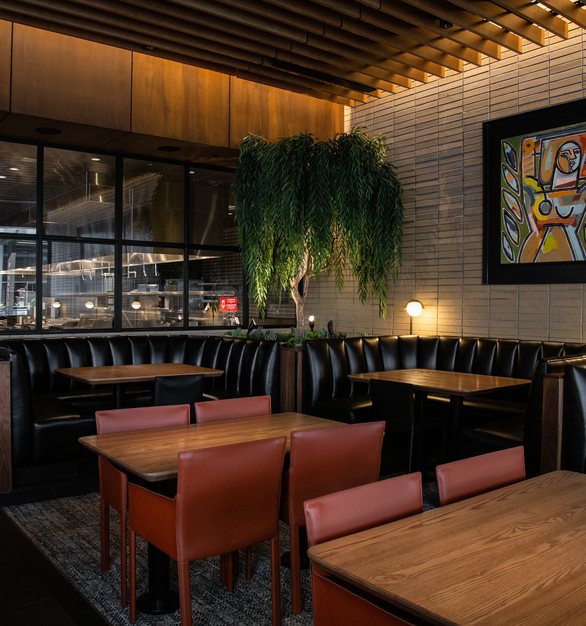 Endicott Clay Products Joey DTLA Restaurant Interior Design Exposed Brick Dining Area Seating Lighting and Wall Art Design
