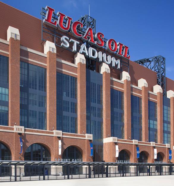 Endicott Clay Products Lucas Oil Football Stadium Thin Brick Exterior Windows and Branding