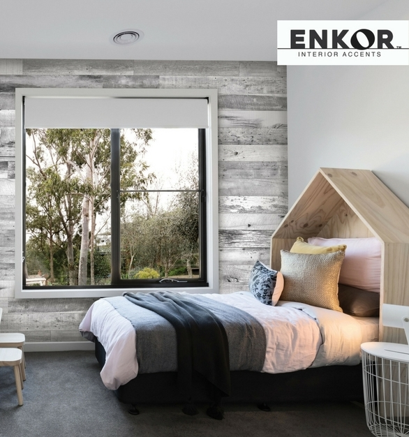 Enkor™ Interior Accents are made from engineered wood to provide functionality for everyday life. The Barnwood Collection showcases different color variations and textures of aged reclaimed barn wood.  Our products are designed to be family-friendly, washable, durable and easier to install than real barn wood.