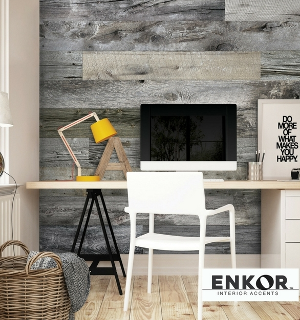 Enkor™ Interior Accents are made from engineered wood to provide functionality for everyday life. The Barnwood Collection showcases different color variations and textures of aged reclaimed barn wood.