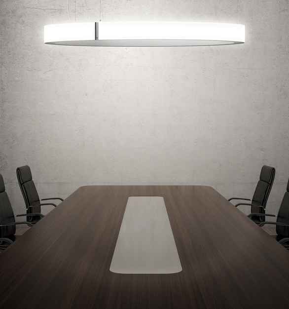 Illuminate your conference room with Compass, a ceiling-suspended luminaire by Eureka.
