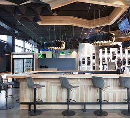 Eureka Lighting Desharnais Pneus et Mecanique Quebec Canada Waiting Area Design Moto Ceiling Suspended