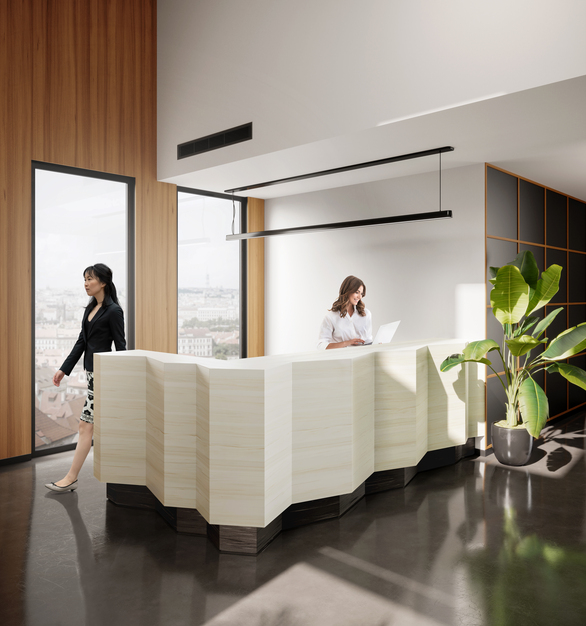 Seen here is Durasein's Naturally as the top portion of the reception desk with a charcoal grey base in Eventide.