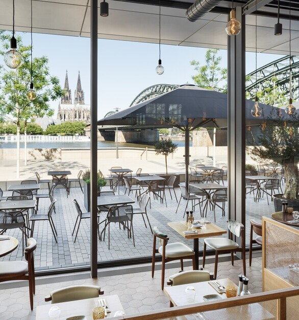 Exposed Ceiling Restaurant Interior Sliding Architectural Glass Walls
