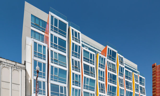 Located in the colorful Mission District of San Francisco, Vida brings to life a long-vacant space as an upscale, mixed-use residential and retail, urban infill project. Designed by DLR Group|Kwan Henmi, the façade reflects the color and texture of the neighborhood's Latin-influenced murals, craft, and culture, and is scaled with respect to the adjacent buildings' varying heights and setbacks.  Photography credits: Rien van Rijthoven, courtesy of Winco Windows