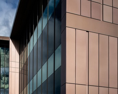 Dri Design Shadow Series metal panels add depth and definition to exterior facade cladding on any architectural design.   The unlimited color palette allows you to create an exterior that promotes your brand color--the possibilities are endless.  The individual panels can be extended at varying depths to create texture or a dynamic variation in patterns, all while keeping the substrate and weather barrier in the same plane.