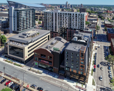 From left clockwise around the block: Kraus-Anderson Headquarters, Finnegan's Brewery, Elliot Park Hotel, and HQ Apartments behind. Meyer Borgman Johnson was the structural engineer of record for this project.