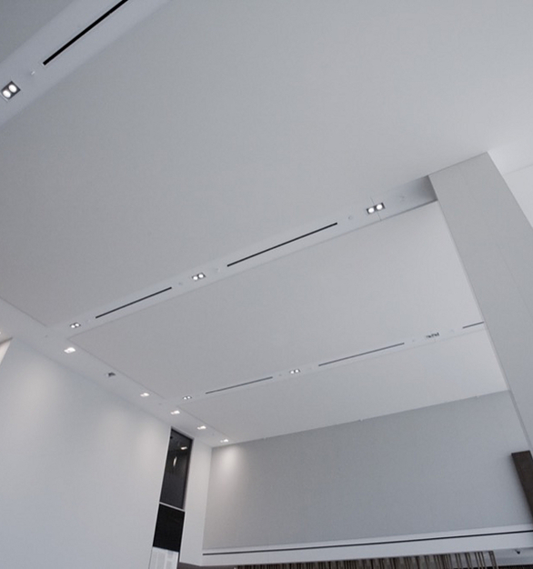 FabriTRAK® is a rigid vinyl framework that provides a method for using fabric as an interior architectural finish for walls and ceilings. The trak is manufactured from a blend of polymers and fire-retardant additives tested to have virtually no VOC emissions.