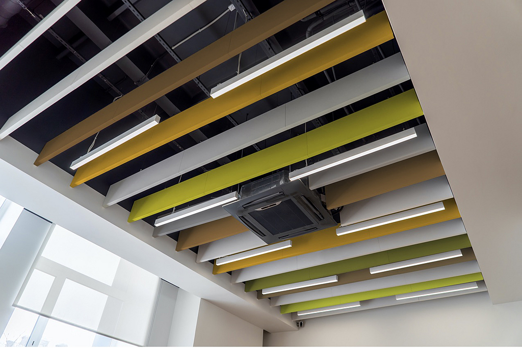 Each interior acoustic solution absorbs noise and mitigates sound reverberation, ensuring sound quality is crisp, and safe on hearing. AUTEM™ Air | Baffles | Clouds are DECLARE certified and meet LEED v4 requirements.