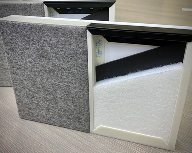 FabriFELT™ by FabriTRAK Systems Inc. is an eco-friendly material that is DECLARE certified and suitable for LEED v4 projects. FabriFELT™ is 100% pure wool felt and is available in 23 standard heathered and solid colors. The felt is 100% recyclable and made without the use of chemicals.