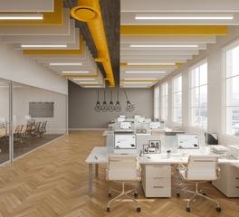 Fabritrak Systems Acoustical Baffles Open Office Interior Design