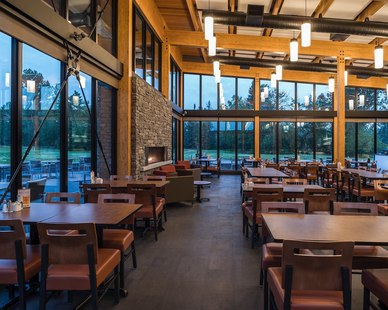 Bock Lighting used their ACP Pendant lighting for the beautiful Falcon Lake Golf Course Clubhouse in Manitoba, Canada.   Photo Credit: Mike Pratt / Number TEN Architectural Group