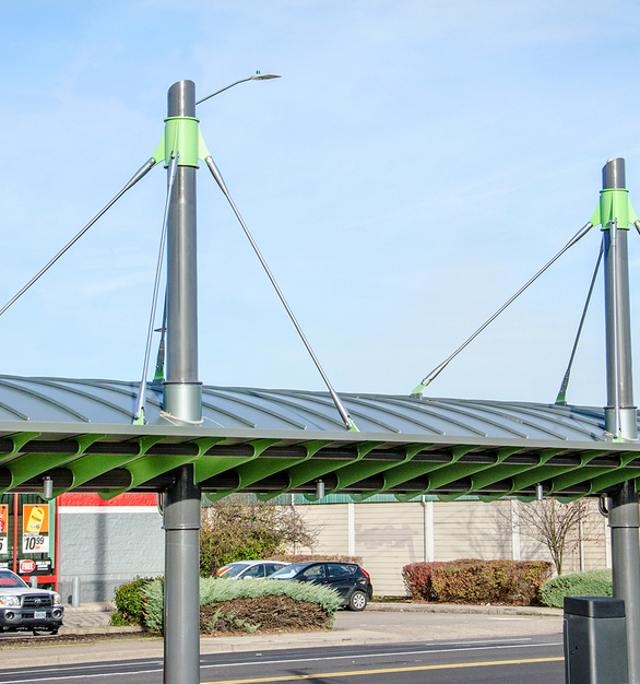 Feeney's Architectural Rods used as the main support at the EMX Station