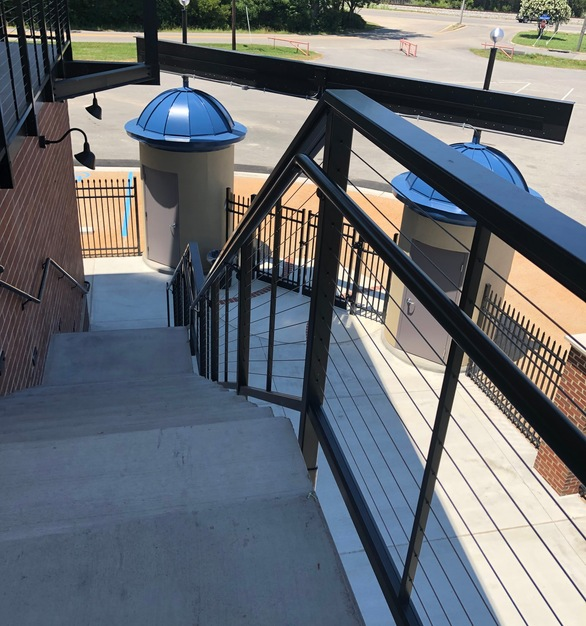 Depending on your railing frame conditions and desired aesthetics, there are a variety of available options for using and attaching CableRail cables on stairs.