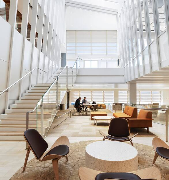 Large open space at UCLA's Anderson School of Management showcases Fellert's Even Better Silk for seamless sound absorption.