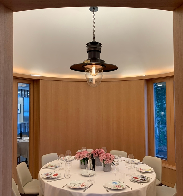 Plenty of private dining areas can be found at Estiatorio Milos restaurant in Hudson Yards NYC. Fellert used their sound-absorbing Even Better Silk throughout the restaurant.