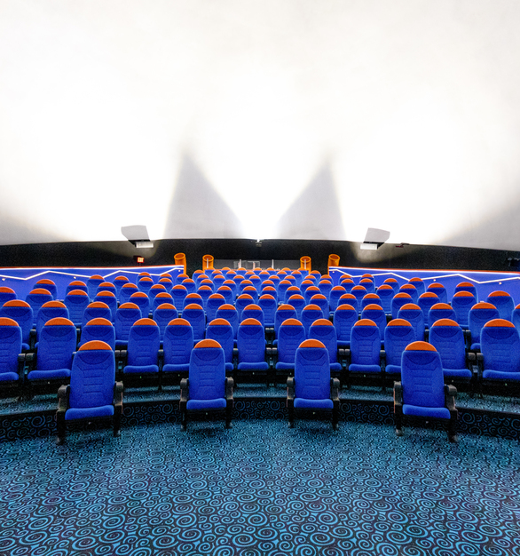 The theater screen seen here uses Fellert's Even Better Silk to showcase movies and also minimize the sound of the audience.