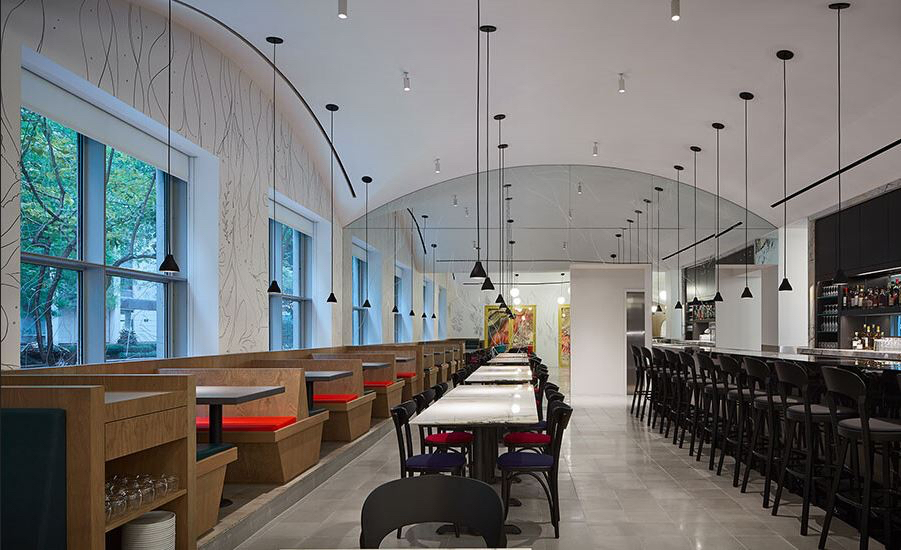 Fellert used their Even Better Silk seamless sound-absorbing material to control noise pollution within the restaurant and bar space at the Museum of Contemporary Art Chicago.