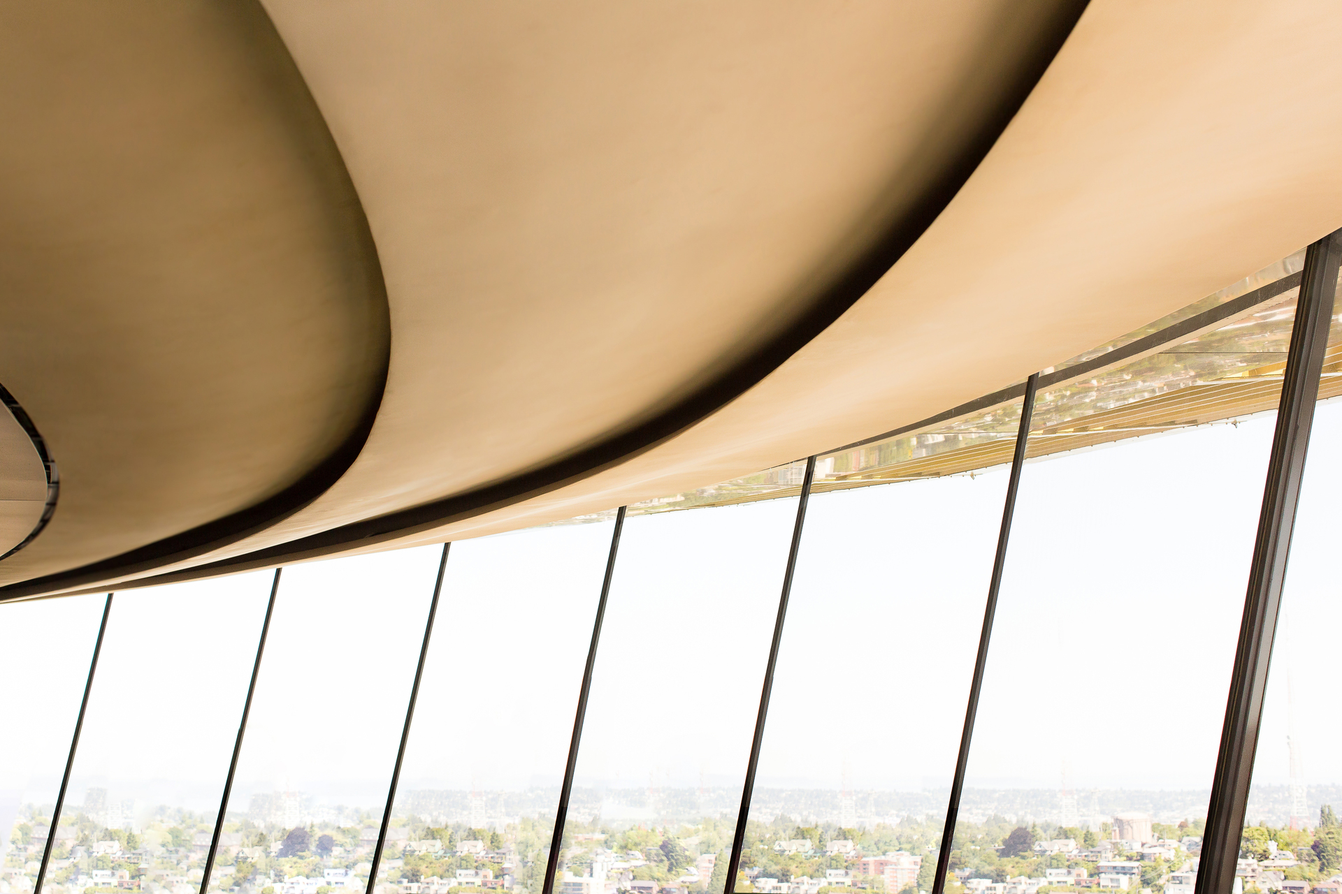 Fellert's sound absorbing materials can truly be used anywhere. Here you can see Fellert's Even Better Silk applied to the ceiling of the Space Needle in Seattle, Washington.