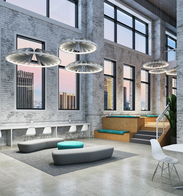 The design of these unique, modern hanging lights provide style to any space while the sound-absorbing acoustic petals help with sound mitigation.