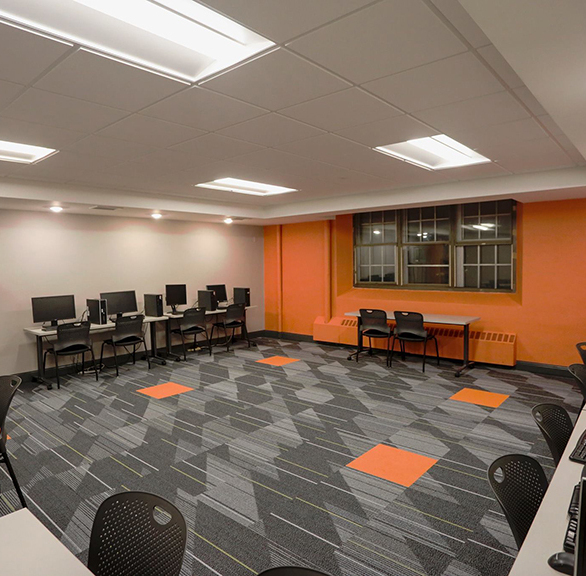 Hennepin Avenue United Methodist Church refers to this classroom space as the orange room since the bright colors really make this space stand out.