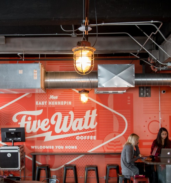 Five Watt's King E. Hennepin location features a handful of different FIXT Electric lighting fixtures like this Red Regina pendant lighting.