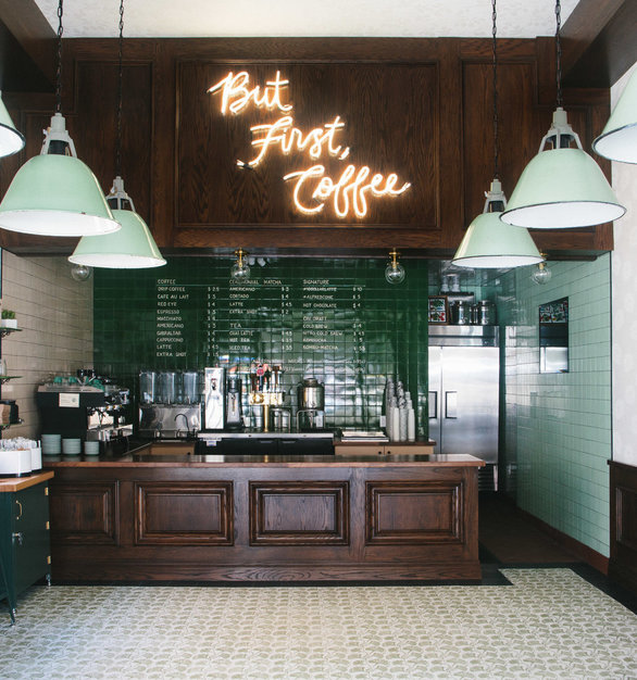 Vintage, antique lighting brings this coffee shop to life. Located in Studio City, CA, Fixt Electric was the perfect lighting option for this space.