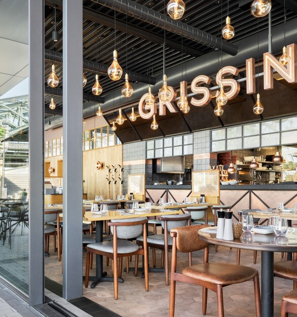 Flexible Restaurant Seating Architectural Wall Design